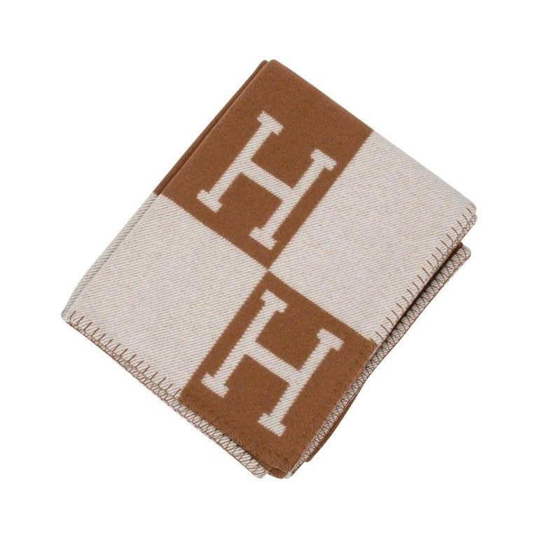 Hermes Blanket Avalon III Signature H Camel and Ecru Throw For Sale