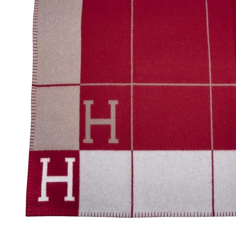 Women's or Men's Hermes Blanket Avalon III Signature H Ecru and Rouge H Throw Blanket