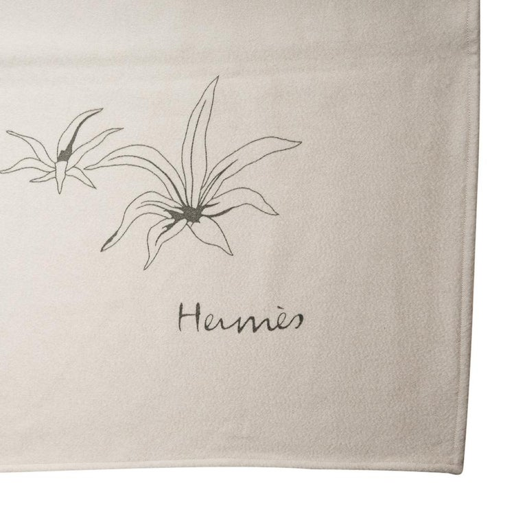 Hermes Blanket Jungle Love Natural Mongolian Cashmere / Silk New w/ Box For Sale 5