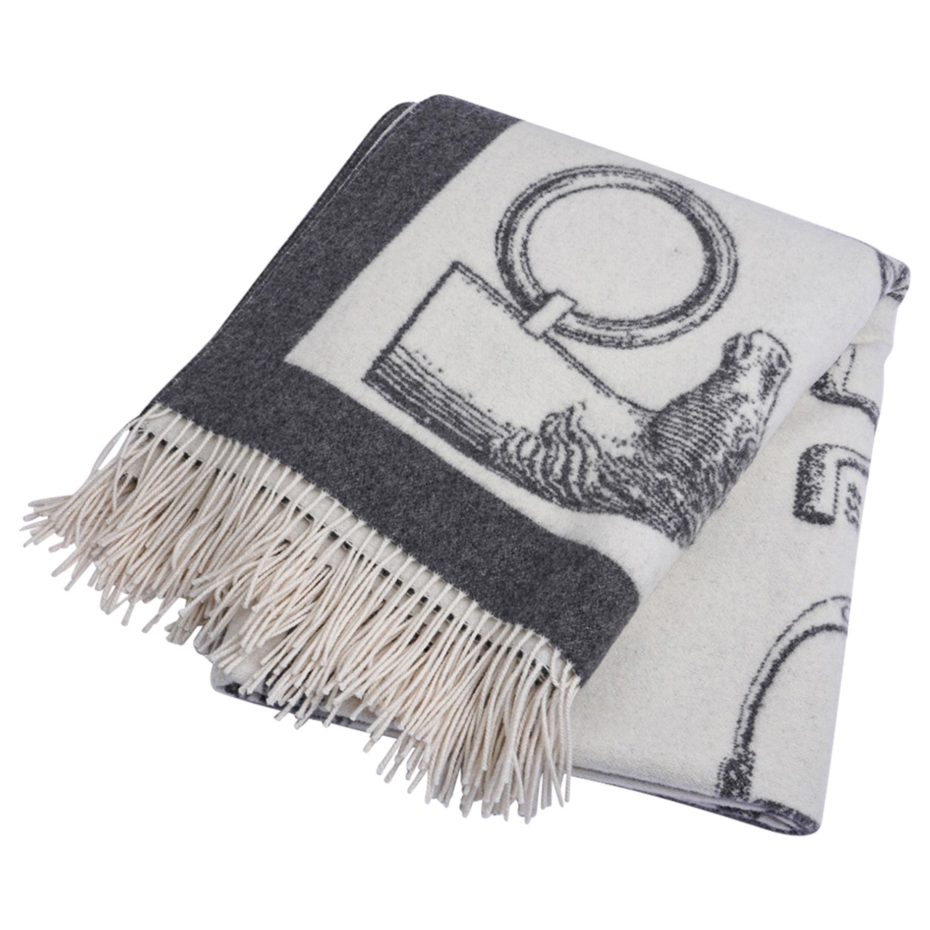 Hermes Blanket Metalliers Equestrian Throw Gris / Ecru Limited Edition New