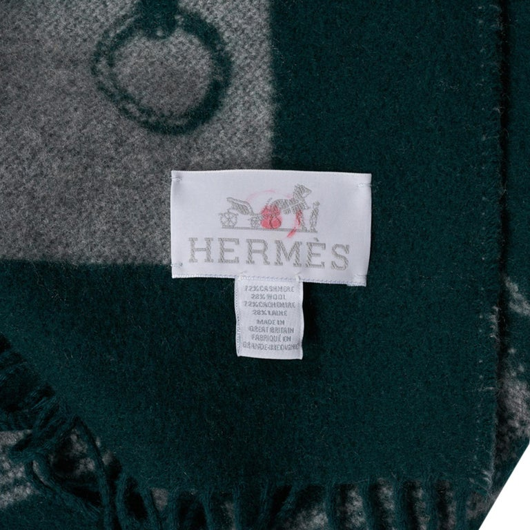 Hermes Blanket Metalliers Equestrian Throw Vert Fonce Limited Edition New For Sale 5