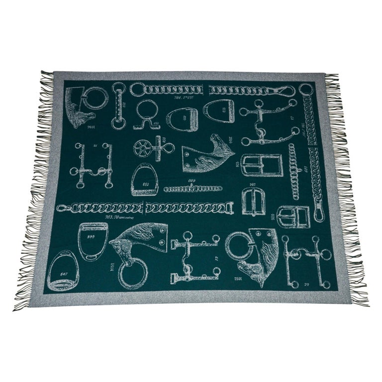 Women's or Men's Hermes Blanket Metalliers Equestrian Throw Vert Fonce Limited Edition New For Sale
