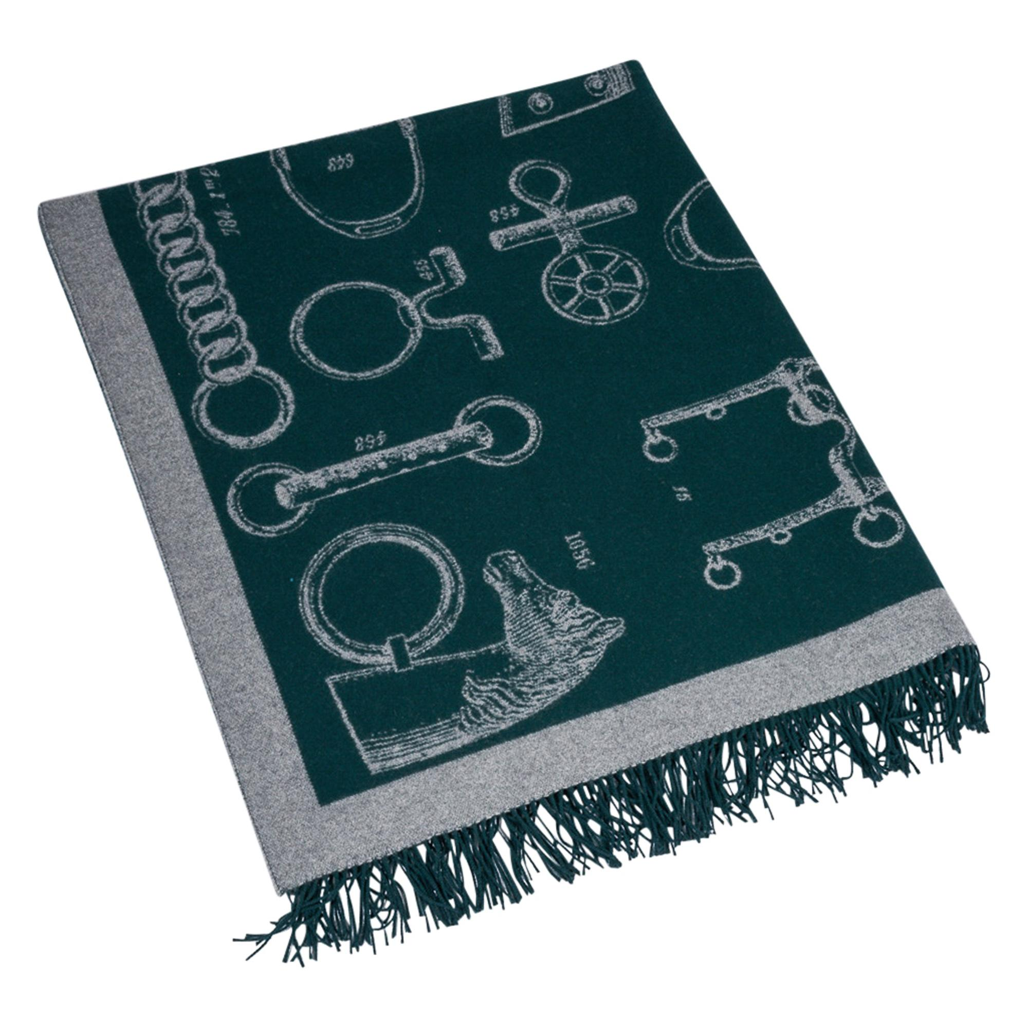 Hermes Blanket Metalliers Equestrian Throw Vert Fonce Limited Edition New