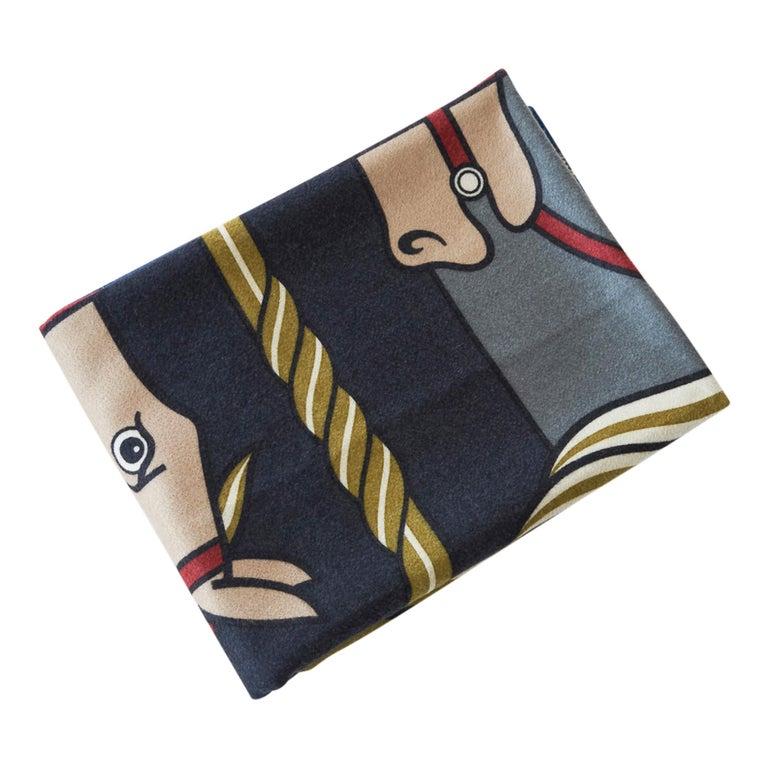 Black Hermes Blanket Quadrige Limited Edition Blue Rare Find New For Sale
