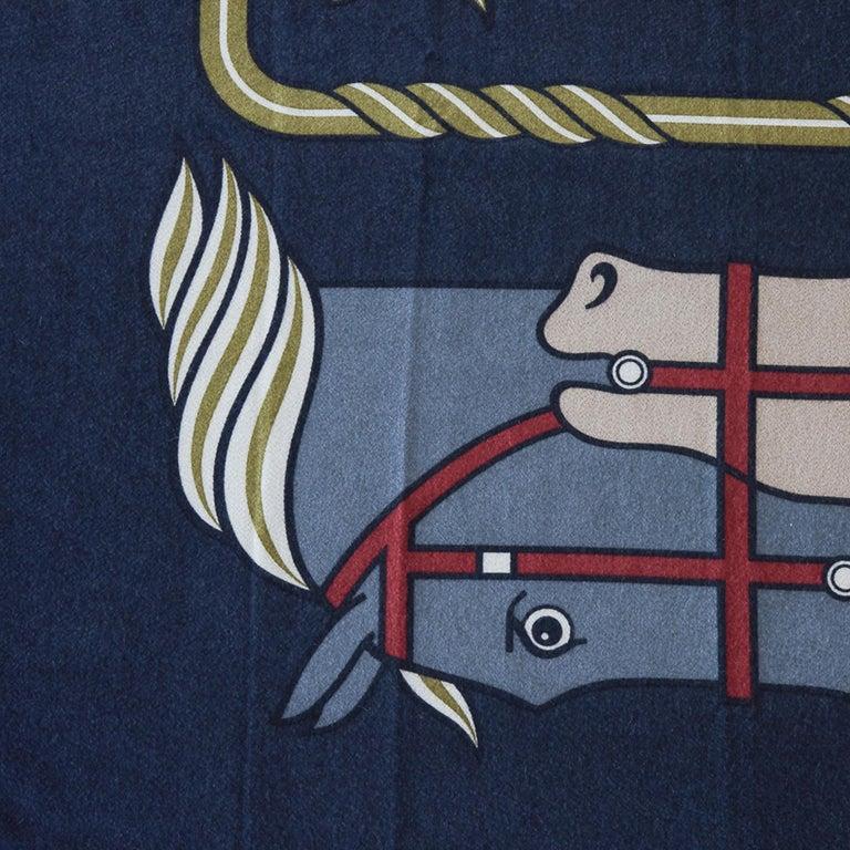 Women's or Men's Hermes Blanket Quadrige Limited Edition Blue Rare Find New For Sale