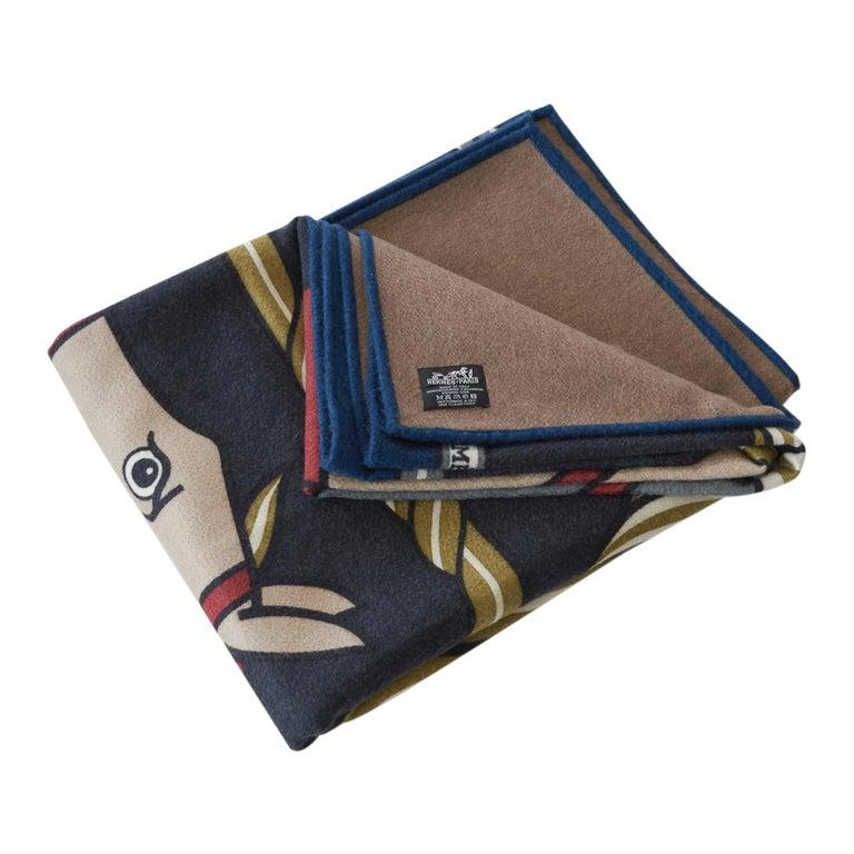 Hermes Blanket Quadrige Limited Edition Blue Rare Find New For Sale 2