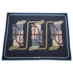 Hermes Blanket Quadrige Limited Edition Blue Rare Find New