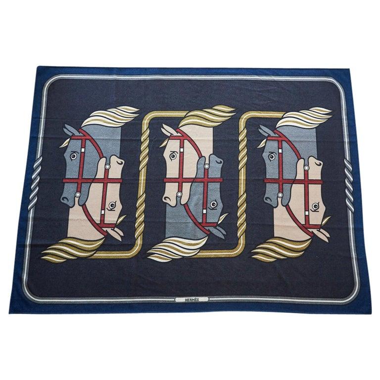 Hermes Blanket Quadrige Limited Edition Blue Rare Find New For Sale