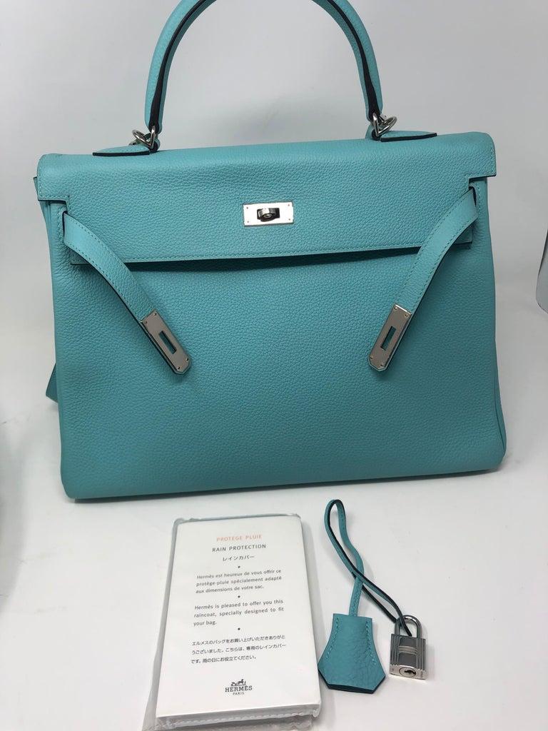 Hermès Bleu Atoll Kelly 35 Palladium Hardware For Sale 5