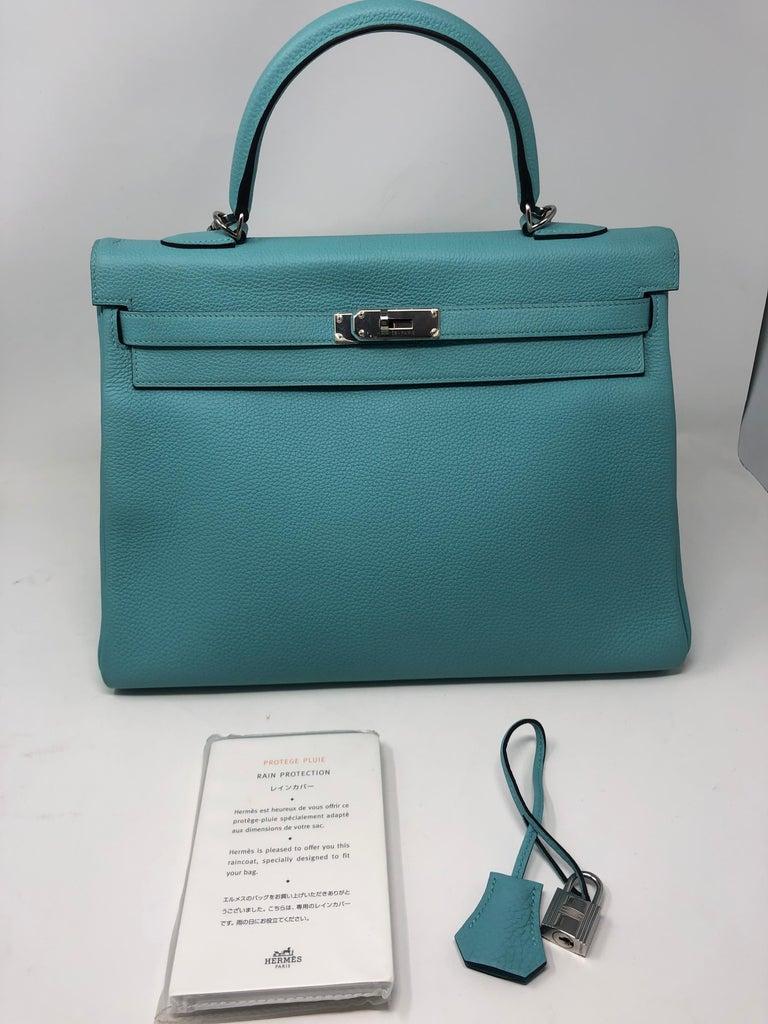 Hermès Bleu Atoll Kelly 35 Palladium Hardware For Sale 6