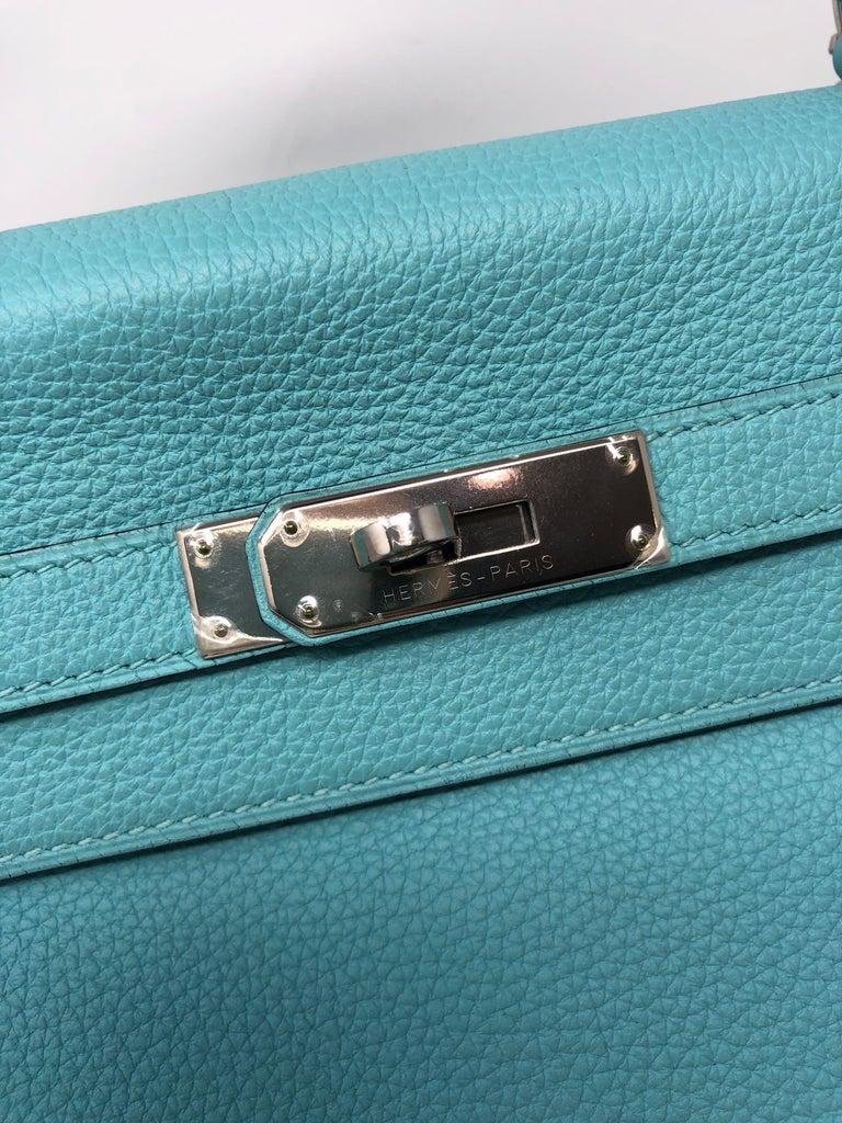 Hermès Bleu Atoll Kelly 35 Palladium Hardware For Sale 7