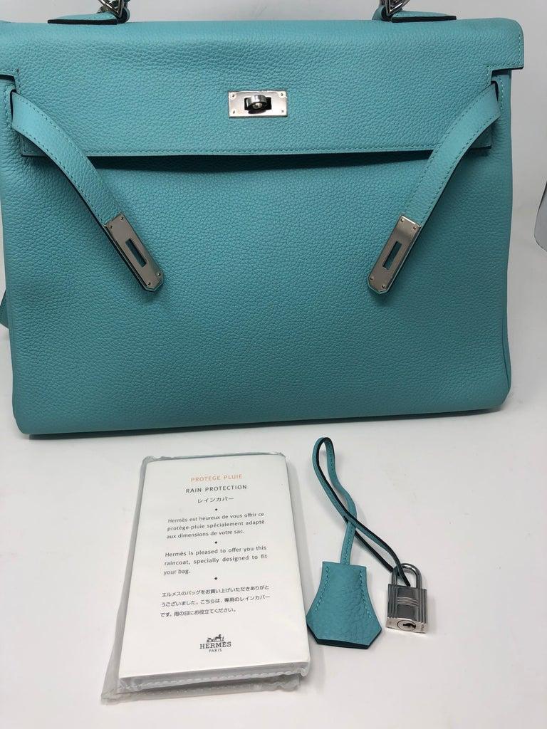 Hermès Bleu Atoll Kelly 35 Palladium Hardware For Sale 8
