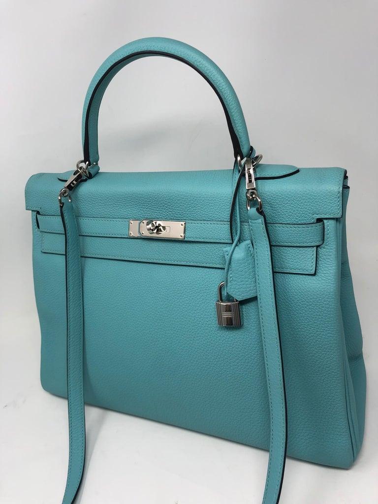 Blue Hermès Bleu Atoll Kelly 35 Palladium Hardware For Sale