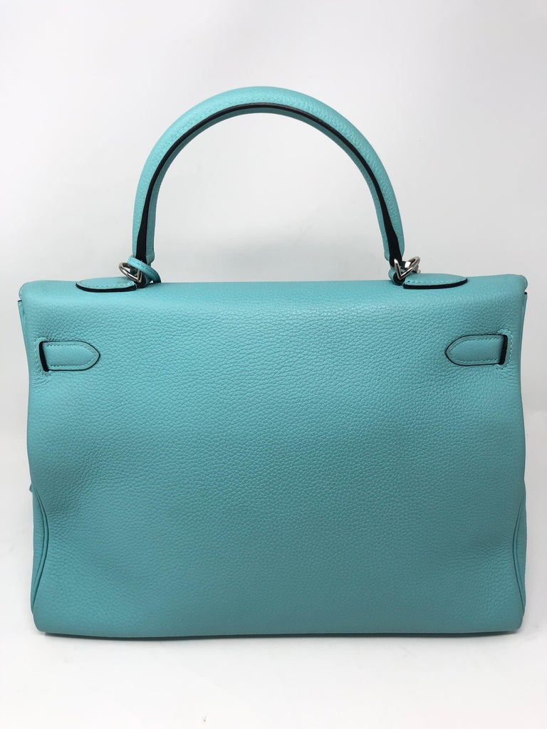 Hermès Bleu Atoll Kelly 35 Palladium Hardware In New Condition For Sale In Athens, GA