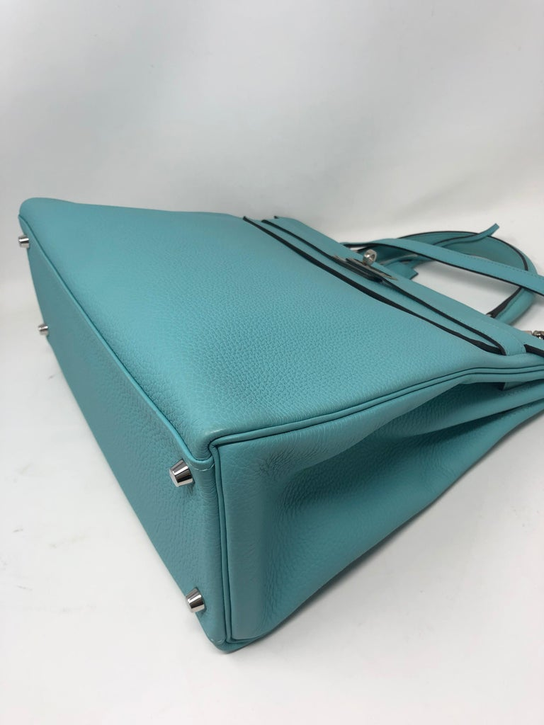Women's or Men's Hermès Bleu Atoll Kelly 35 Palladium Hardware For Sale