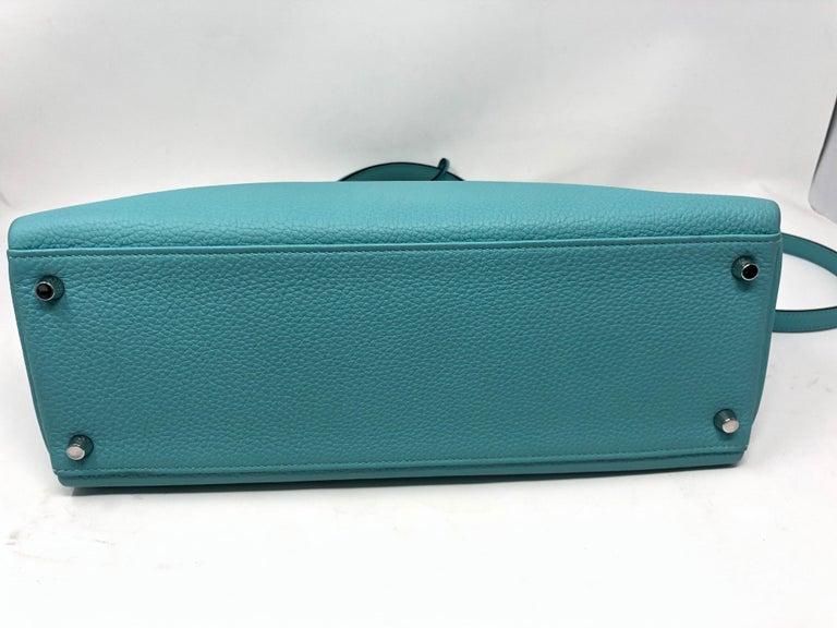 Hermès Bleu Atoll Kelly 35 Palladium Hardware For Sale 1