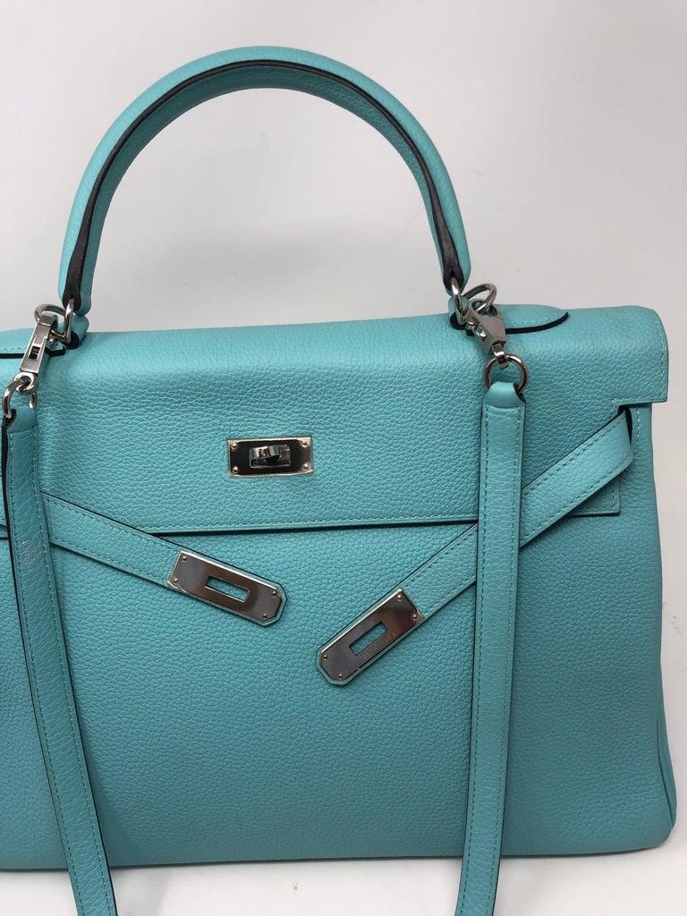 Hermès Bleu Atoll Kelly 35 Palladium Hardware For Sale 2