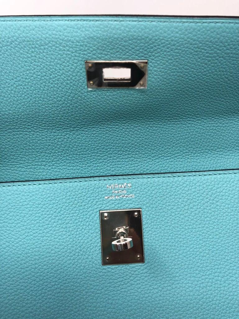 Hermès Bleu Atoll Kelly 35 Palladium Hardware For Sale 3