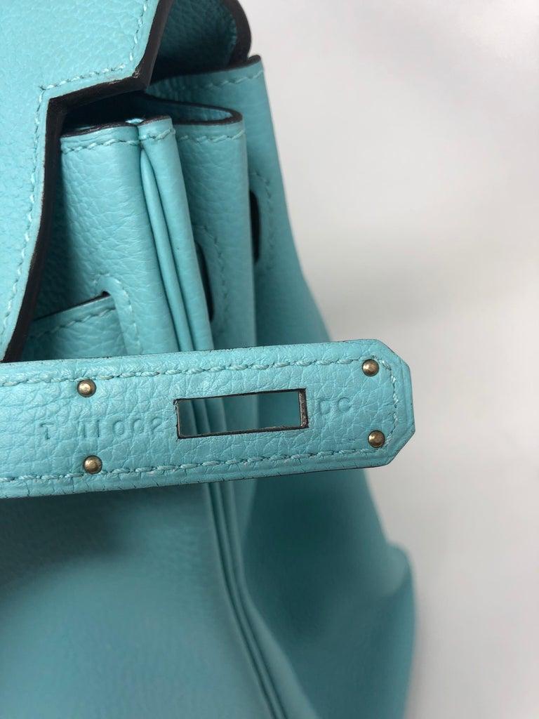 Hermès Bleu Atoll Kelly 35 Palladium Hardware For Sale 4