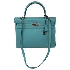Hermès Bleu Atoll Kelly 35 Palladium Hardware