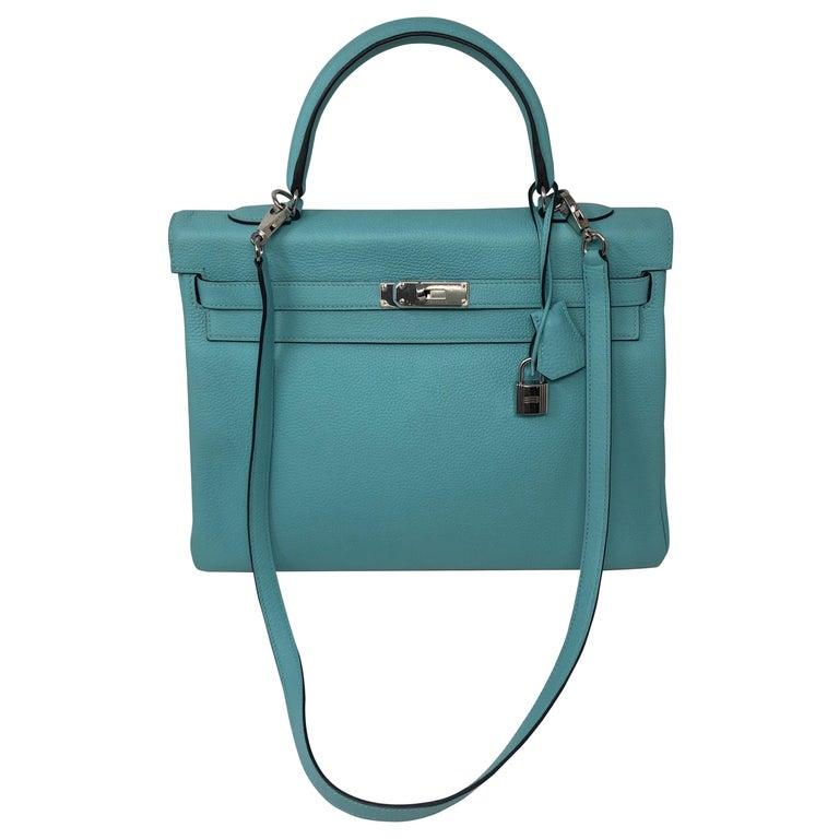 Hermès Bleu Atoll Kelly 35 Palladium Hardware For Sale