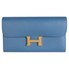 Hermès Bleu Brighton Epsom Constance Long Wallet PHW