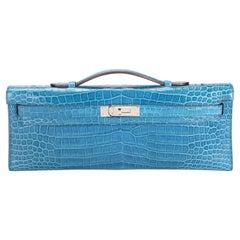 Hermès Bleu Brighton Shiny Porosus Crocodile Kelly Cut PHW