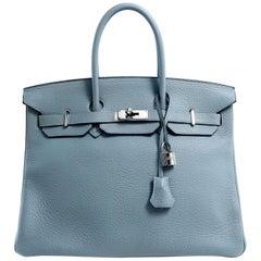 Hermès Bleu Ciel Clemence 35 cm Birkin Bag