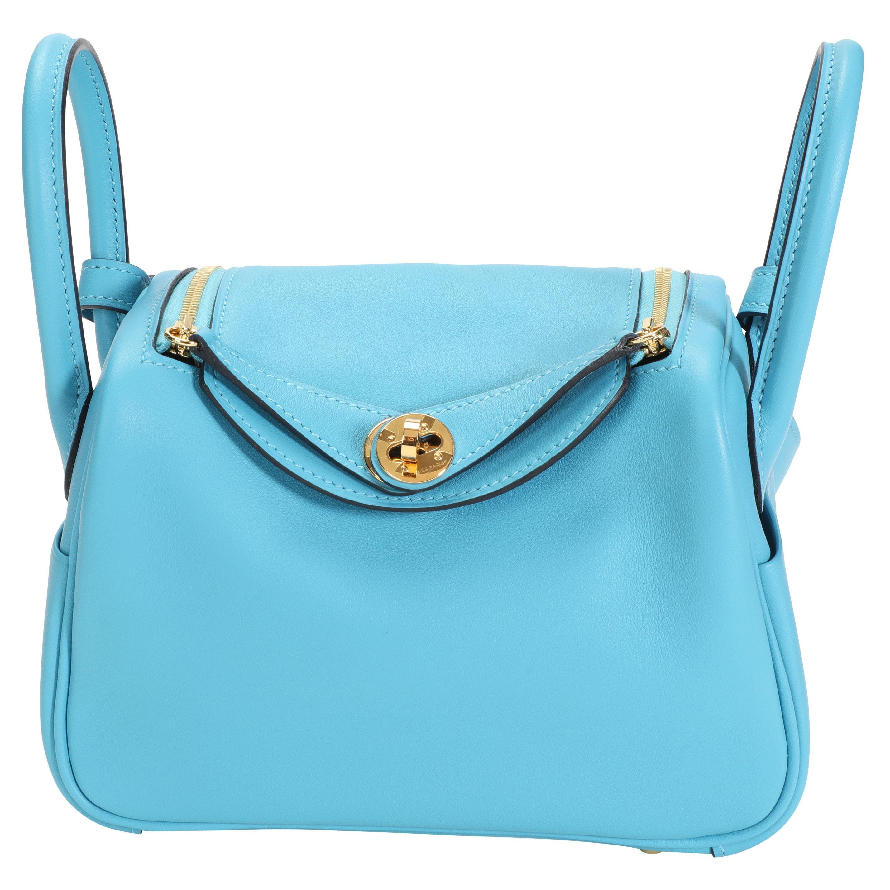 Hermès Bleu Du Nord Swift Mini Lindy GHW