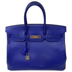 Hermes Bleu Electrique Birkin 35 Bag