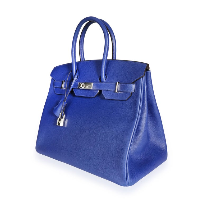 Hermès Bleu Électrique Epsom Birkin 35 PHW SKU: 110053  Handbag Condition: Very Good Condition Comments: Very Good Condition. Plastic on some hardware. Scuffing to corners. Light marks throughout exterior. Scratching to hardware. Brand: