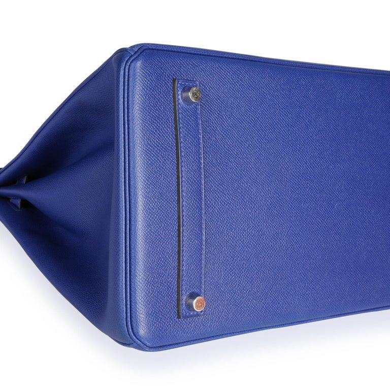 Hermès Bleu Électrique Epsom Birkin 35 PHW For Sale 3