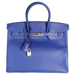 Hermès Bleu Électrique Epsom Birkin 35 PHW