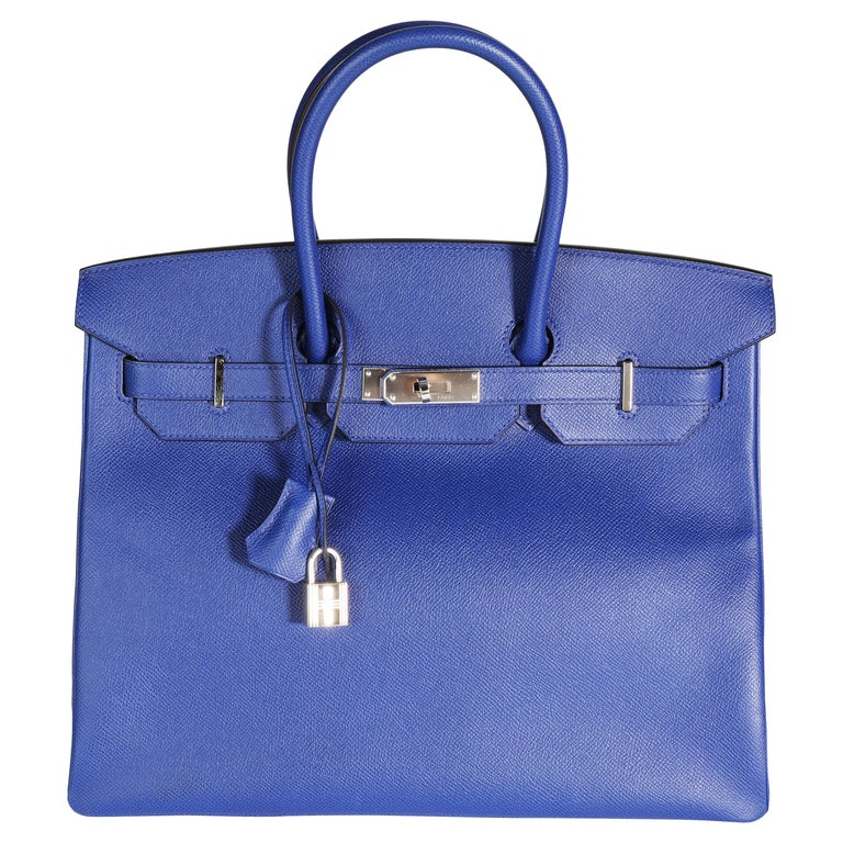 Hermès Bleu Électrique Epsom Birkin 35 PHW For Sale