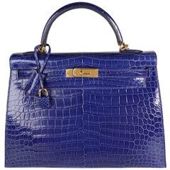 Hermès Bleu Électrique Shiny Porosus Crocodile Sellier Kelly 32 GHW