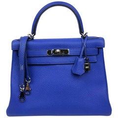 Hermès Bleu Electrique Togo 28 cm Kelly Bag