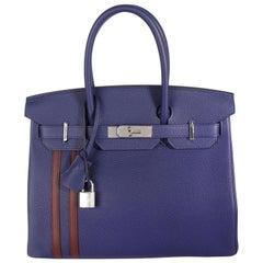 Hermès Bleu Encre & Bordeaux Togo Officier Birkin 30 PHW