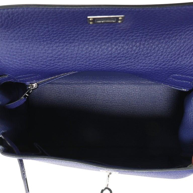 Purple Hermès Bleu Encre Togo Retourne Kelly 25 PHW For Sale
