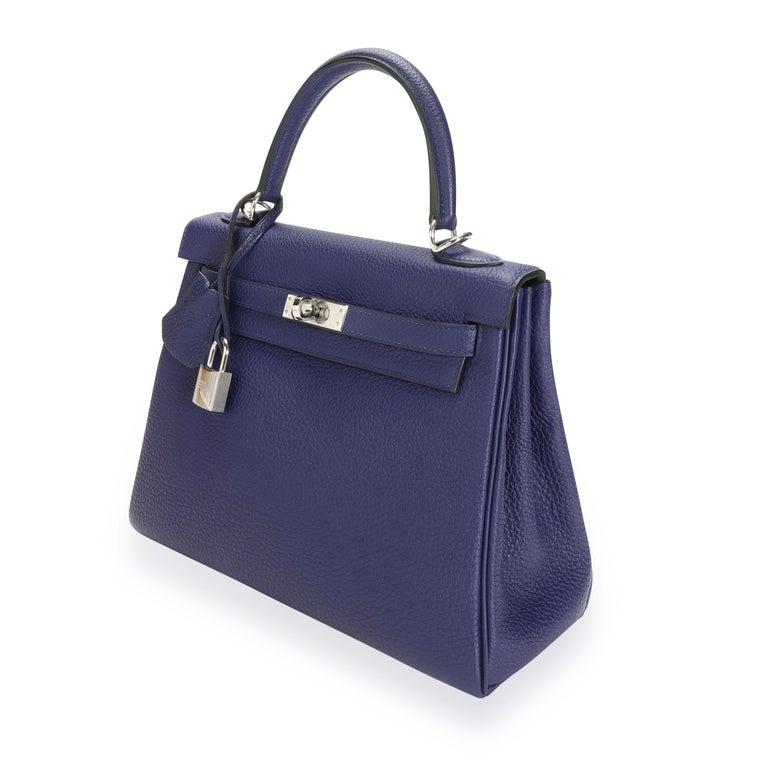 Hermès Bleu Encre Togo Retourne Kelly 25 PHW For Sale 4