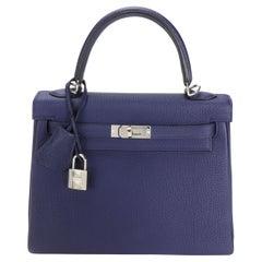 Hermès Bleu Encre Togo Retourne Kelly 25 PHW