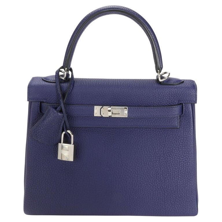 Hermès Bleu Encre Togo Retourne Kelly 25 PHW For Sale