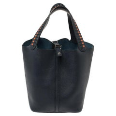 Hermes Bleu Indigo/Black/Terre Leather Picotin Lock Cuir De Tressage PM Bag