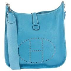 HERMES Bleu Jean blue Clemence leather EVELYNE III 29 Crossbody Bag