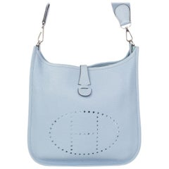 HERMES Bleu Lin blue Clemence leather & Palladium EVELYNE 29 Shoulder Bag