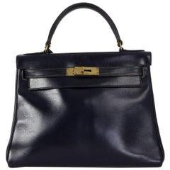 HERMES Bleu Marin blue Box KELLY I 28 RETOURNE Bag VINTAGE