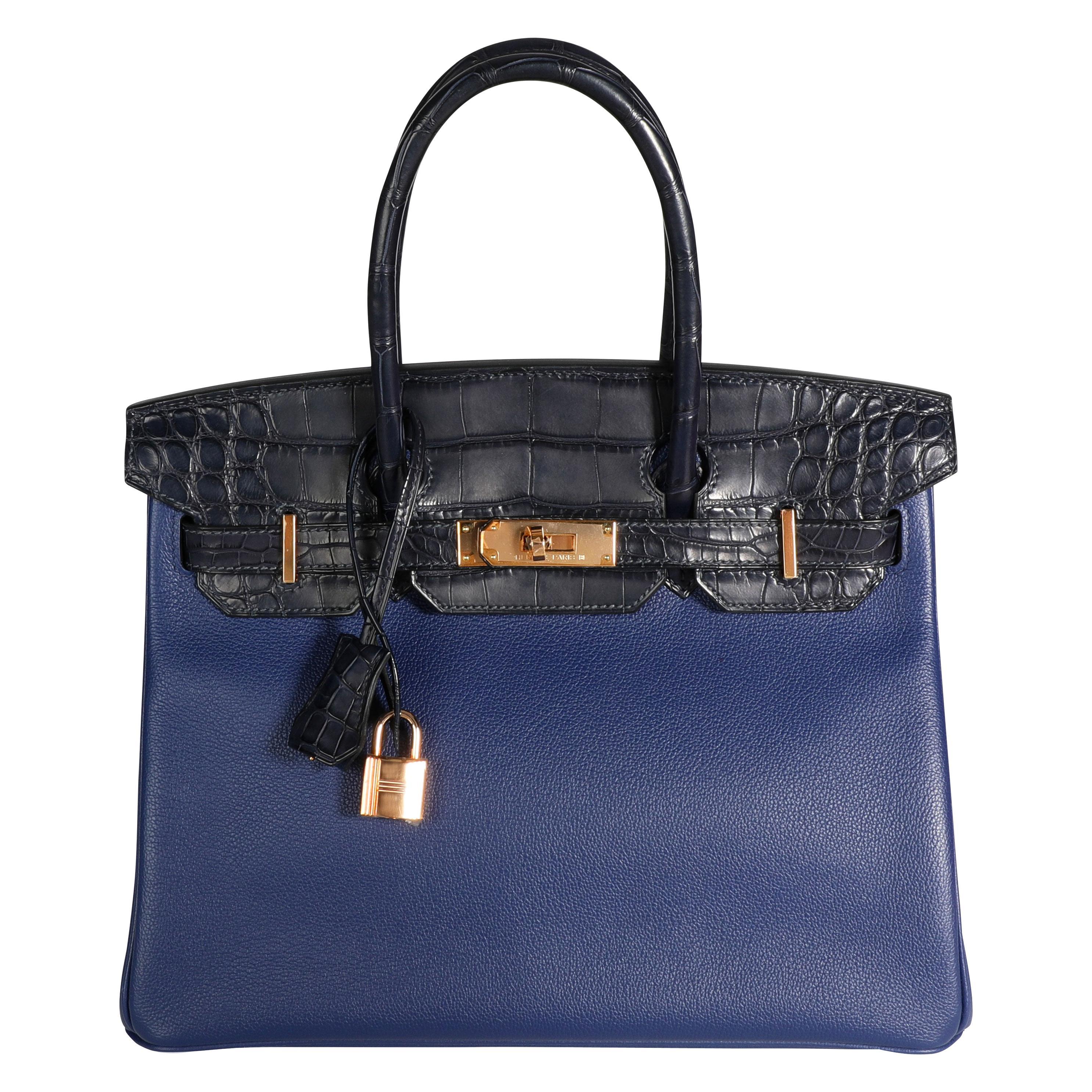 Hermès Bleu Marine Matte Alligator & Bleu Saphir Novillo Touch Birkin 30 RGHW