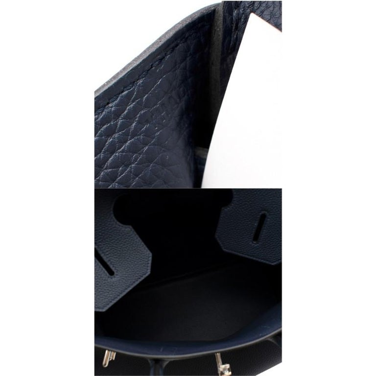 Hermes Bleu Nuit Birkin HAC 40 in Togo Leather PHW For Sale 5