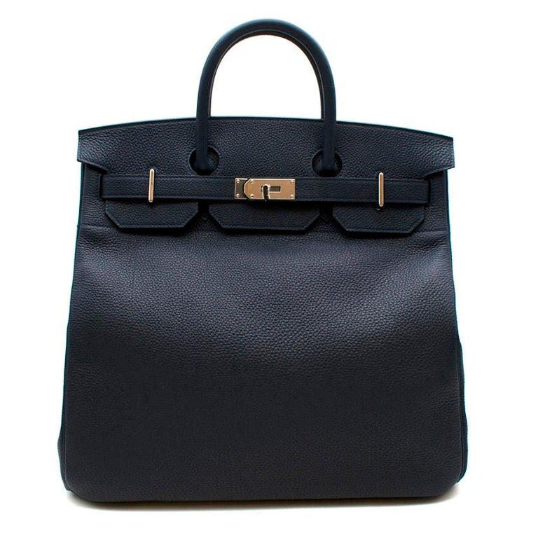 Hermes Bleu Nuit Birkin HAC 40 in Togo Leather PHW  - Age Y 2020 - Togo leather body Palladium plated hardware -Two rolled leather top handles -Twist lock closure -Full set, stickers still on the hardware - Travel style of the Birkin.  Height