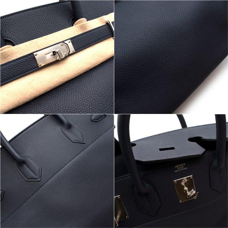 Hermes Bleu Nuit Birkin HAC 40 in Togo Leather PHW For Sale 3
