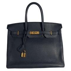 Hermès Bleu Nuit Clémence Leather Birkin 35 GHW